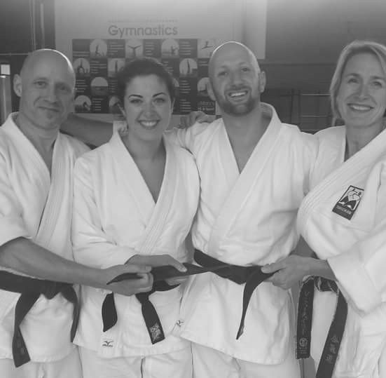 after successful 4th Dan examination with Vanda Fairchild Sensei, Pam and Jer