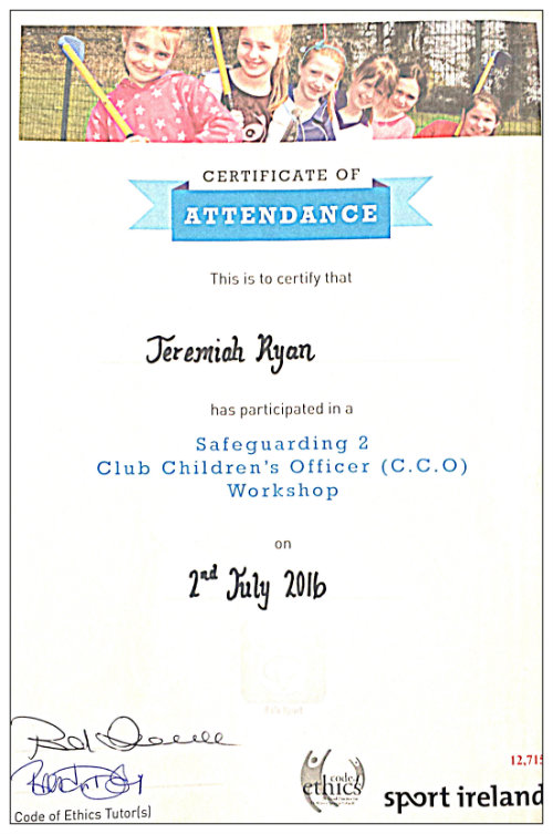 Aikido dublin Club Children's Officer Training Certificate