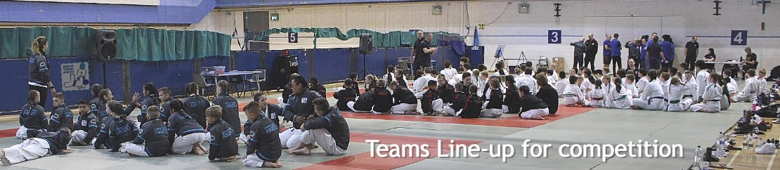 Dublin Tomiki Junior Team Lined up before martial arts competition